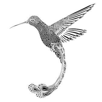Koliber, ilustracja w stylu zentangle