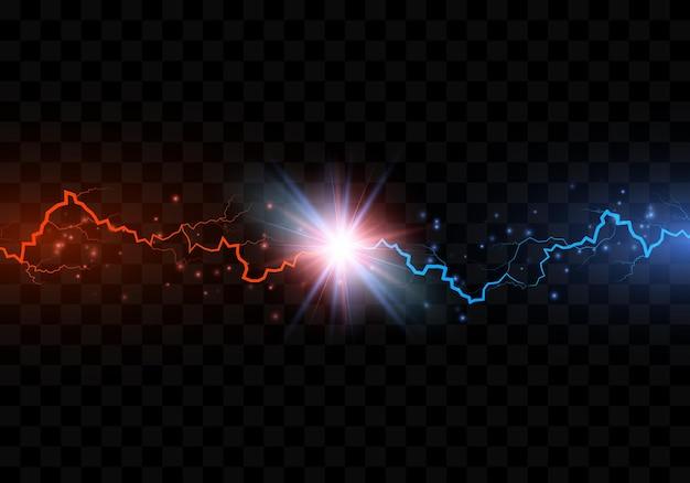 Kolizja z czerwonym i niebieskim piorunem elektrycznym. w porównaniu z abstrakcyjnym tłem z piorunem. wektor