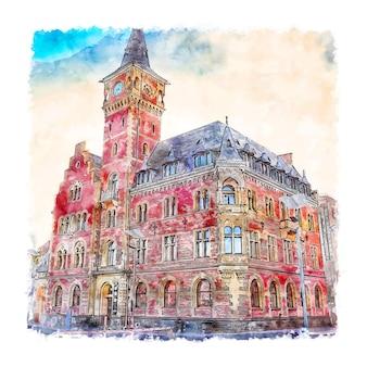 Koln niemcy szkic akwarela ręcznie rysowane ilustracji