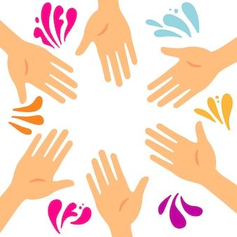 Koło 6 rąk z kolorowymi plamami i kroplami. ramka na baner na festiwal kolorów. płaskie ilustracja na białym tle z plamą koloru