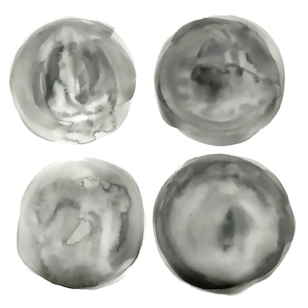 Koło akwarela szare koło tekstury zestaw czterech