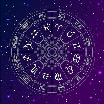 Koło astrologiczne ze znakami zodiaku w przestrzeni kosmicznej
