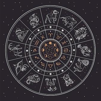 Koło astrologii horoskop ze znakami zodiaku i konstelacjami. bliźnięta, rak, lew, mistyczny znak zodiaku kolekcja ilustracji wektorowych. kalendarz z różnymi fazami księżyca na nocnym niebie