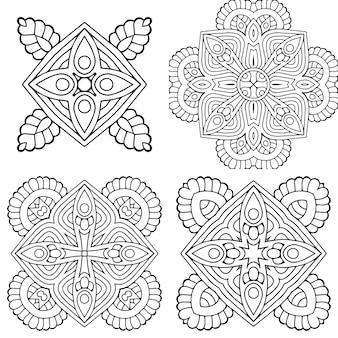 Koło czarno-biały ornament, kolekcja ozdobnych okrągłych koronek