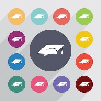 Koło edukacji, zestaw ikon płaski. okrągłe kolorowe guziki. wektor