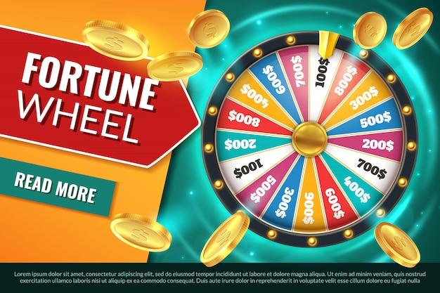 Koło fortuny. baner tekstowy dla zwycięzcy jackpota, obracająca się ruletka z nagrodami w kasynie. gra wygrana szansa koło hazard tło