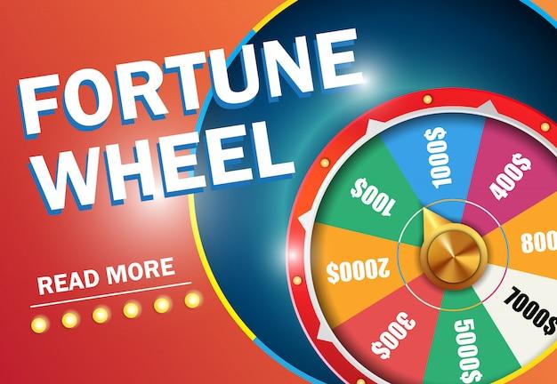 Koło fortuny czytaj więcej napis na czerwonym tle. reklama biznesowa kasyna