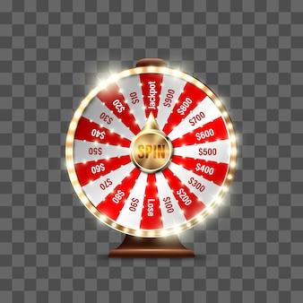 Koło fortuny do gry i wygrania jackpota na przezroczystym tle. ruletka szczęścia. wygraj ruletkę z fortuną. ilustracja