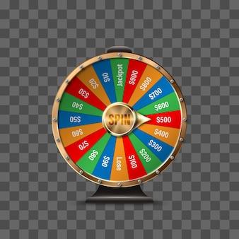 Koło fortuny do gry i wygrania jackpota na przezroczystym tle