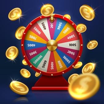 Koło fortuny i złote monety. szczęsliwa szansa w wektorze gry. ilustracja fortuny koła dla kasyna, hazardu i sukcesu