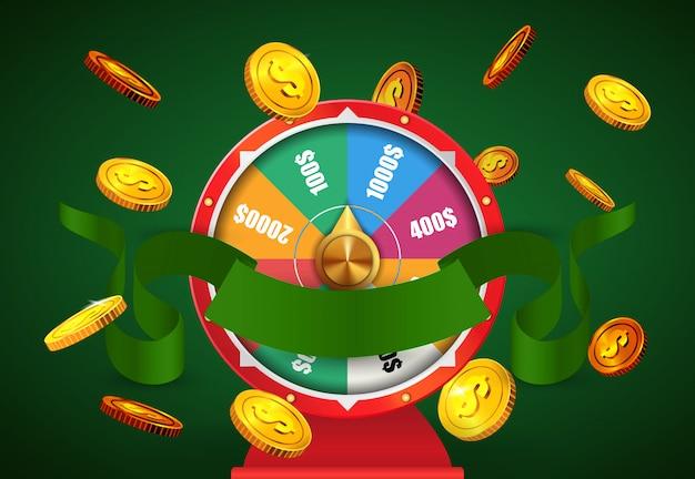 Koło fortuny, latające złote monety i zielona wstążka. reklama biznesowa kasyna