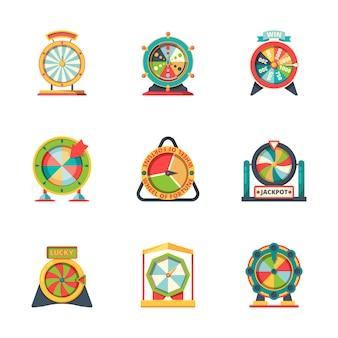 Koło fortuny. szczęśliwe symbole koło ruletka kasyno gra hazardowa fortuna ikony stylu
