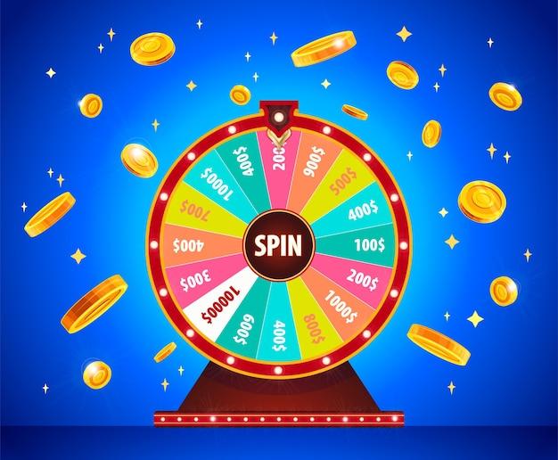 Koło fortuny ze złotymi monetami 3d, loteria, szczęście. ruletka, kasyno, sukces i wygrana.