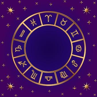 Koło horoskopu. zodiak śpiewa ramkę. 12 symboli. baran, byk, bliźnięta. rak, lew, panna waga scorpius strzelec koziorożec wodnik ryby