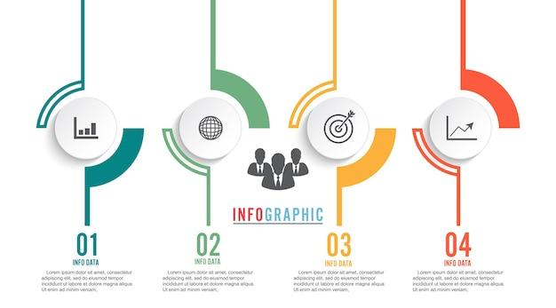 Koło infographic szablon cztery opcje, proces lub krok do prezentacji biznesowych