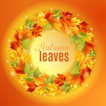 Koło jesiennych liści ramki