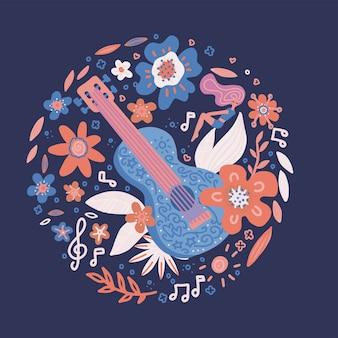 Koło kompozycja kwiatów spleciona gitara