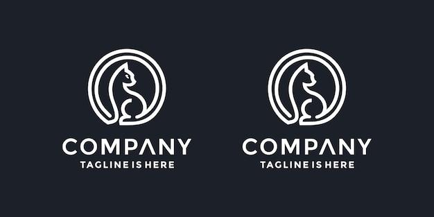 Koło kot logo wektor ikona ilustracja