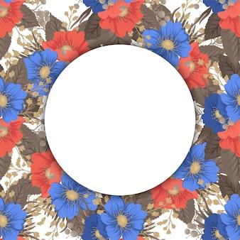 Koło kwiatowe granice - okrągła rama