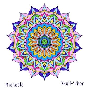 Koło kwiatowe, mandala, symbol projektu, medytacja i kwiat, motyw plemienny dekoracji. ilustracja wektorowa
