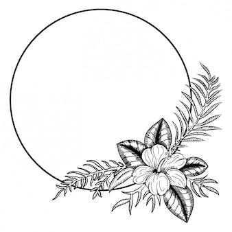 Koło ładny ręcznie rysowane ramki na białym tle