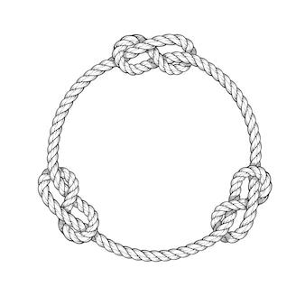 Koło linowe - okrągła rama linowa z węzłami, styl vintage