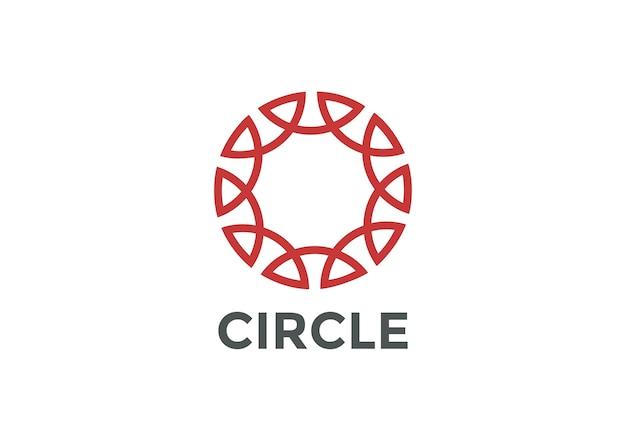 Koło logo streszczenie liniowy styl konspektu