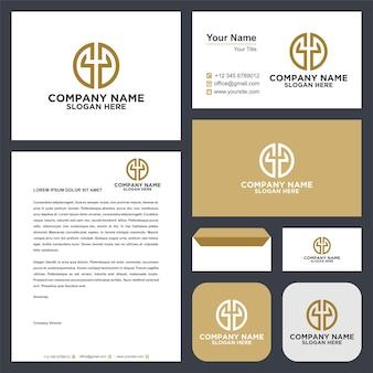 Koło logo tworzące literę y premium i wizytówkę