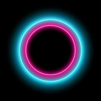 Koło neonowe z efektem świetlnym. nowoczesna okrągła rama z pustą przestrzenią