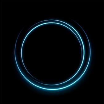Koło niebieskiej linii światła