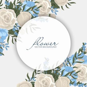 Koło obramowanie kwiatów - wieniec kwiatowy