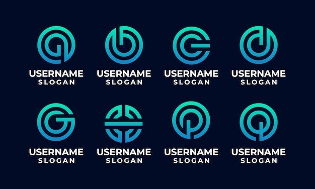 Koło początkowe logo, zestaw szablonu projektu logo list monogram