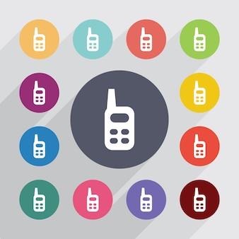 Koło radiowe, zestaw ikon płaski. okrągłe kolorowe guziki. wektor