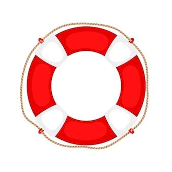 Koło ratunkowe na białym. gumowy pierścień zabezpieczający z liną, okrągły ratownik na białym tle, ochrona sprzętu zabezpieczającego, ilustracja