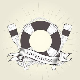 Koło ratunkowe, wiosła i lina - emblemat żeglarski