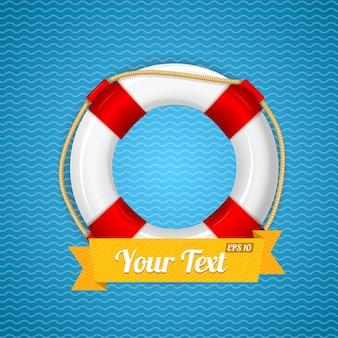 Koło ratunkowe ze wstążką na twój tekst.