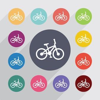 Koło rowerowe, zestaw ikon płaski. okrągłe kolorowe guziki. wektor