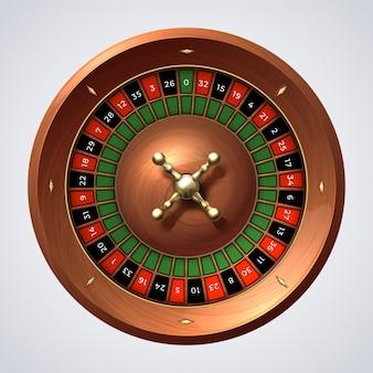 Koło ruletki w kasynie. odosobniony hazard drewniany czerwony spin, szczęśliwa gra jackpot.
