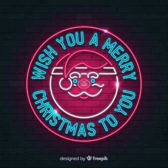 Koło santa christmas neon znak