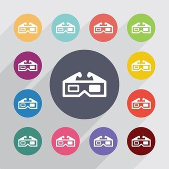 Koło serwis filmowy 3d, zestaw ikon płaski. okrągłe kolorowe guziki. wektor
