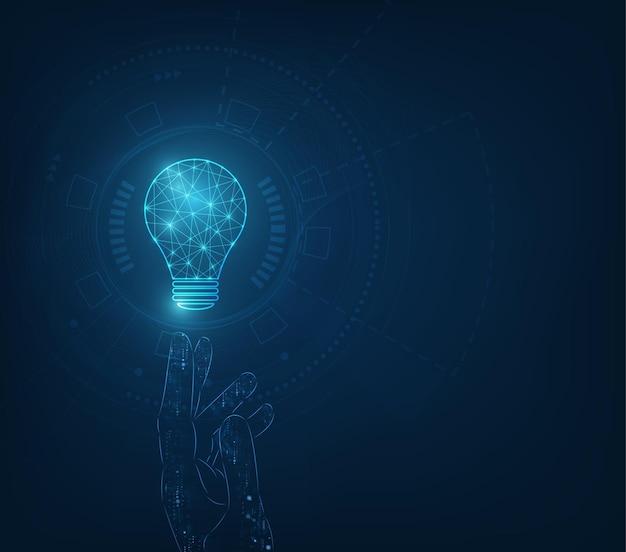 Koło tech z jasnoniebieskim i żarówką na tle technologii.