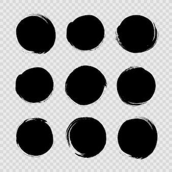 Koło teksturowanej ręcznie rysowane streszczenie czarny atrament kresek zestaw na białym tle na białym tle.
