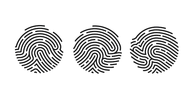 Koło unikalny projekt ikona linii papilarnych dla aplikacji na białym tle. skanowanie płaskie odcisków palców. ilustracja wektorowa
