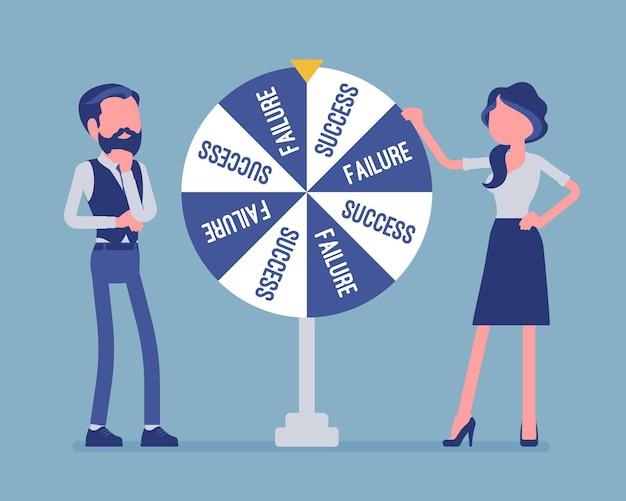 Koło wybierając losowe zmiany porażki lub sukcesu. wniosek lub rozwiązanie osiągnięte po hazardzie na szczęście, losowo wybraną przyszłość, rozwój biznesu. ilustracja wektorowa, postacie bez twarzy