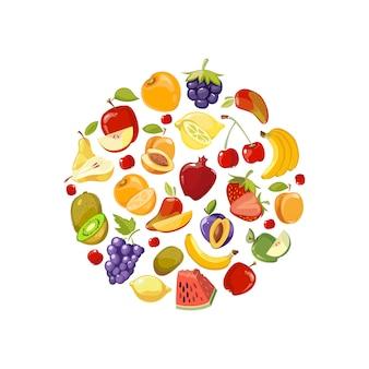 Koło wykonane z płaskich ikon owoców. zdrowa żywność ekologiczna