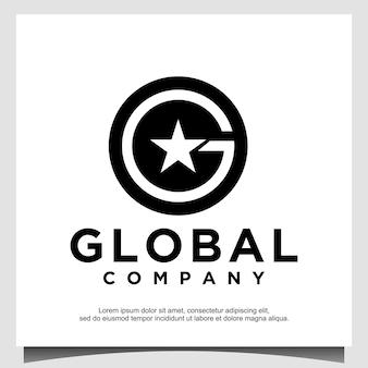 Koło z początkowym projektem logo g i gwiazda premium wektor