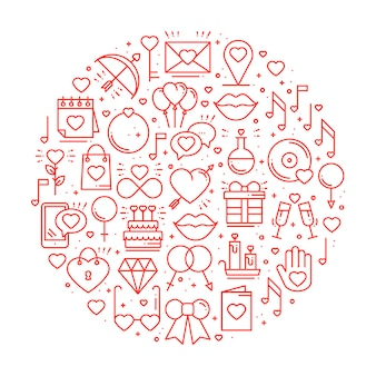 Koło z symbolami miłości.