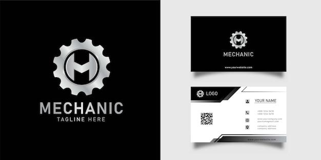 Koło zębate mechanik logo ikona wektor litera m logo i wizytówka