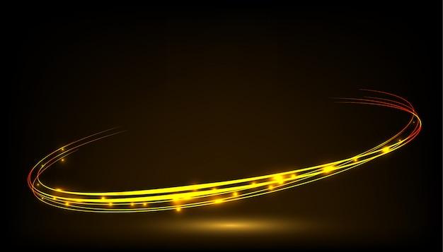 Koło złoty błyszczący efekt świetlny