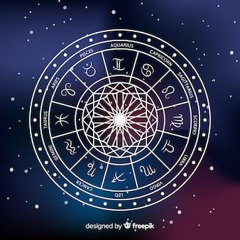 Koło Zodiaku Na Tle Przestrzeni Darmowych Wektorów